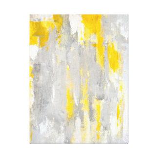 """""""Qui est"""" art abstrait gris et jaune aléatoire Toiles"""