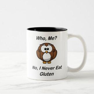 Qui, je ?  Non, je ne mange jamais le gluten Mug Bicolore