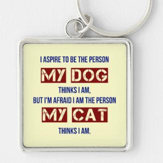 Qui mon chien me pense suis porte-clé carré argenté