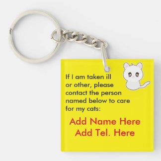 Qui s'inquiétera de mes chats en cas d'urgence - porte-clé carré en acrylique double face