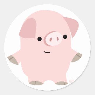 Quiet Cartoon Pig round sticker
