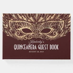 Quinceanera Bourgogne et livre d'invité d'or