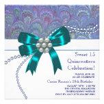 Quinceanera pourpre bleu turquoise invitations personnalisables