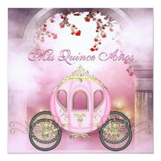 Quinceanera rose de princesse Carriage Enchanted Carton D'invitation 13,33 Cm
