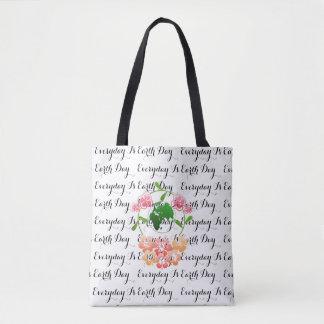 """""""Quotidien est le jour de la terre"""" floral, sac de"""