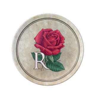 R pour le monogramme floral d'alphabet de rose assiettes en porcelaine