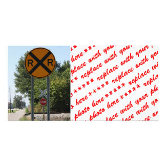 R x R - signe de croisement de chemin de fer Cartes De Vœux Avec Photo