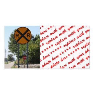 R x R - signe de croisement de chemin de fer Photocarte