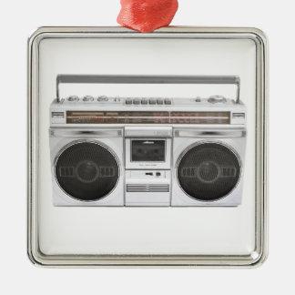 Radio de Boombox de vieille école Ornement Carré Argenté
