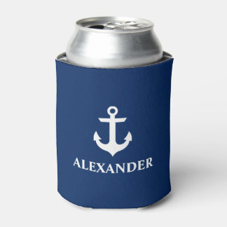 Rafraichisseur De Cannettes Bleu marine nommé personnalisé nautique d'ancre
