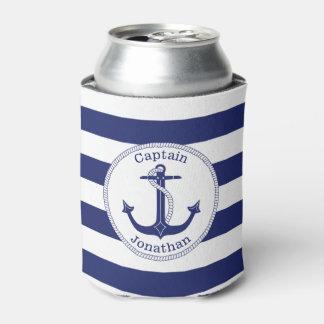 Rafraichisseur De Cannettes Capitaine nautique Personalized de bleu marine