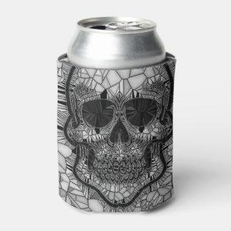 Rafraichisseur De Cannettes Crâne en verre de mosaïque, blanc noir