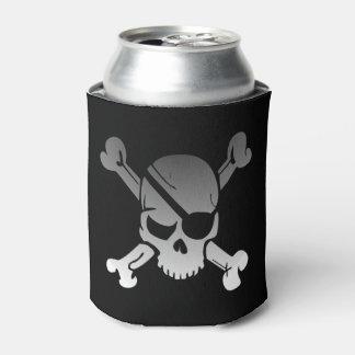 Rafraichisseur De Cannettes Crâne gris simple et os croisés de pirate