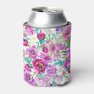 Rafraichisseur De Cannettes Motif floral moderne coloré lumineux rose pourpre