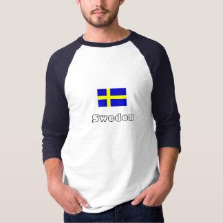 Raglan de douille de drapeau de la Suède T-shirts