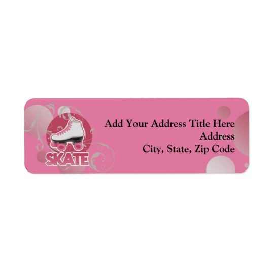 Raie de rouleau rose de remous de bulle, patinant étiquette d'adresse retour
