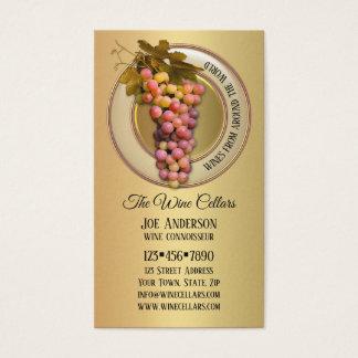 Raisins colorés sur le carte de visite orienté de