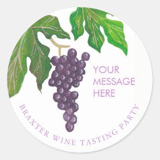 Raisins de partie d'échantillon de vin sticker rond