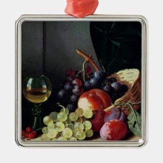Raisins et prunes ornement carré argenté