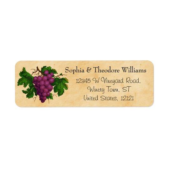 Raisins pourpres vintages de dégustation de partie étiquette d'adresse retour