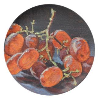 Raisins rouges assiettes en mélamine