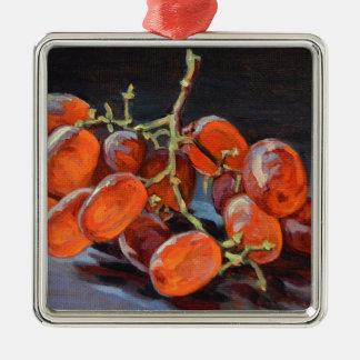 Raisins rouges ornement carré argenté