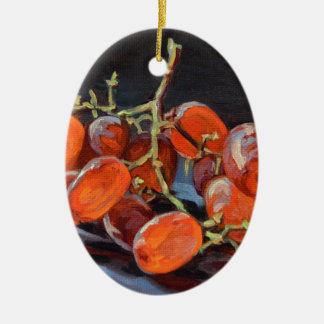Raisins rouges ornement ovale en céramique