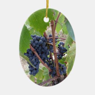 Raisins rouges sur la vigne avec le feuille vert ornement ovale en céramique