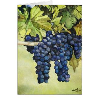 Raisins sur la carte de voeux d'art de vigne