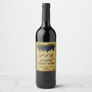 Raisins vintages, étiquette fait sur commande de