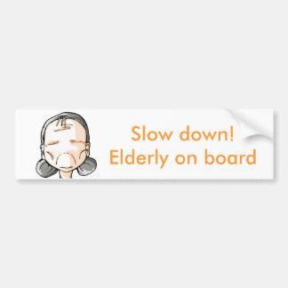 Ralentissement ! Personnes âgées à bord Autocollant De Voiture