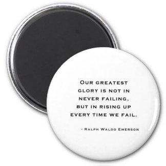 Ralph Waldo Emerson - citation de motivation Magnet Rond 8 Cm