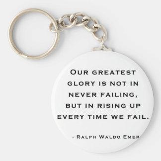 Ralph Waldo Emerson - citation de motivation Porte-clé Rond