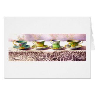 Rangée 0001 de carte de voeux de tasses de thé