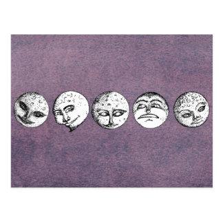 Rangée des visages de lune sur la carte postale