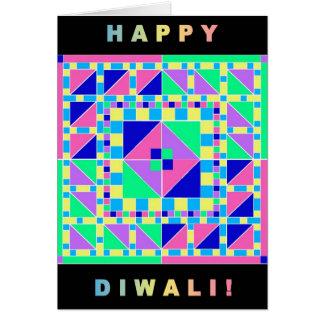 Rangoli en pastel avec la carte noire de Diwali de