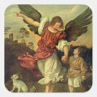 Raphael et Tobias, 1507-8 (huile sur le panneau) Sticker Carré