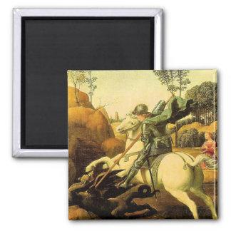 """Raphael """"St George et le dragon"""" (circa 1505) Magnet Carré"""