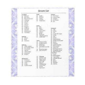 Rappel de liste d'épicerie avec le pourpre de moti bloc-notes mémo