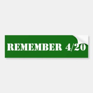 Rappelez-vous 4/20 autocollant de voiture