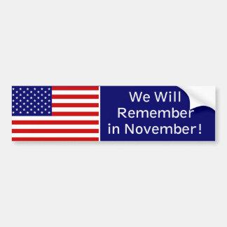 Rappelez-vous en novembre autocollant pour voiture