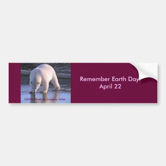 Rappelez-vous le jour de la terre/22 avril autocollant pour voiture