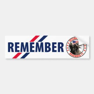 Rappelez-vous le jour de vétérans autocollant pour voiture