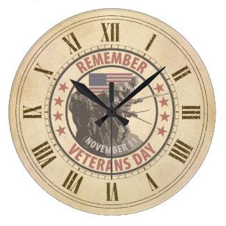 Rappelez-vous le jour de vétérans grande horloge ronde