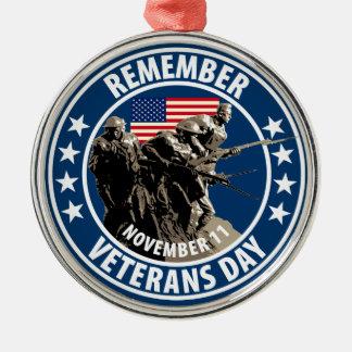 Rappelez-vous le jour de vétérans ornement rond argenté
