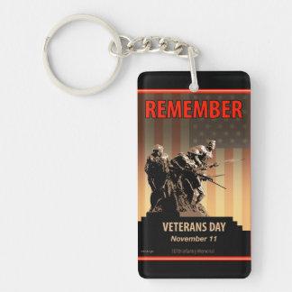 Rappelez-vous le jour de vétérans porte-clé  rectangulaire en acrylique une face