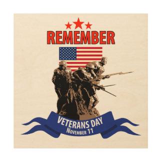 Rappelez-vous le jour de vétérans impression sur bois