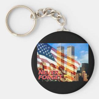 Rappelez-vous les attaques terroristes sur 9/11/01 porte-clé rond