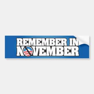 Rappelez-vous novembre autocollant pour voiture