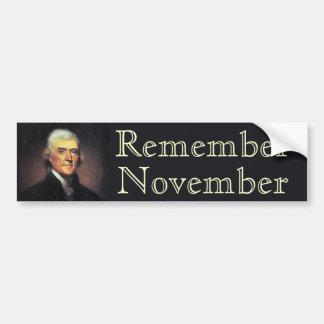 Rappelez-vous novembre Thomas Jefferson Autocollant De Voiture